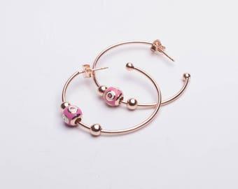 Pink Enamel Hoop Earrings