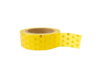 Washi tape - yellow polkadot gold foil, stationery, stationary, LittleLeftyLou, Snail Mail, Happy mail, masking tape, 10 meter, pattern
