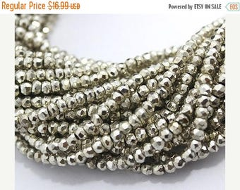 On SALE Silver Pyrite Beads Full Strand Rondelle Faceted 3-3.5 mm AAA Finest Quality Natural stone 13 inches length  GQB