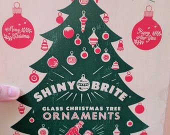 Vintage Shiny Brite Box and 12 Assorted Ornaments, Blue, Red, Silver and Gold, Made in USA