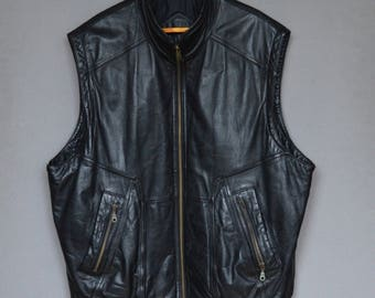 Black Leather Men's Vest Vintage Outdoor Leather Waistcoat Western Vest with Pockets Motorcycle Waistcoat Rocky Clothing Extra Large Size