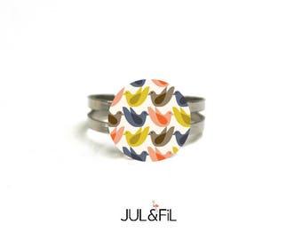 Wooden ring organic geometric vintage seventies bird, Scandinavian, minimalist, adjustable, brass