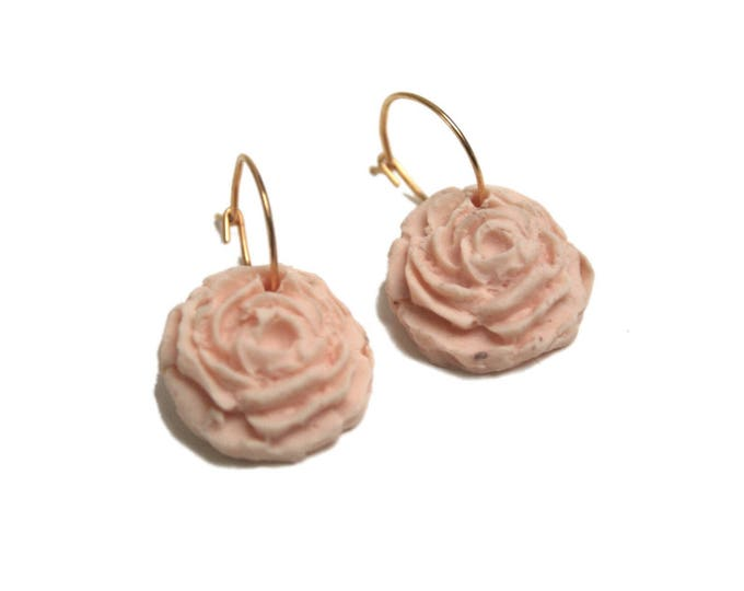 24 k gold plated earrings powder pink porcelain rose