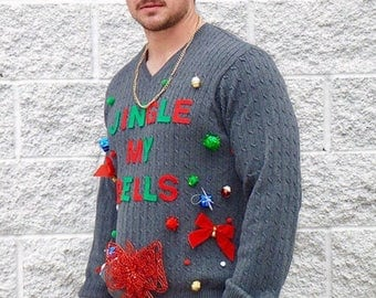 Ugly Christmas Sweater Mens   Jingle My Bells Sweater / Ugly Christmas sweater party   Ships Same or Next Day!