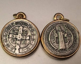 Lot of 2 Saint Benedict Medal Double Sided Catholic Medal 1 Inch round