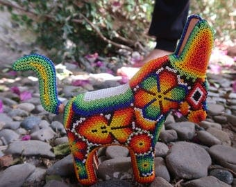 DONKEY carved wood handmade beaded by mexican Huichol artesans