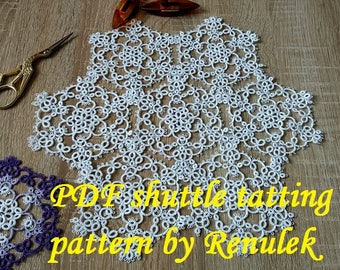 "Snowflake-napkin LAVENDER""PDF Original Shuttle Tatting Pattern by Renulek Instant Digital Download. Tatting yourself gift."