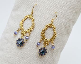 Victorian style, gold tone and purple and midnight blue swarovski crystal earrings