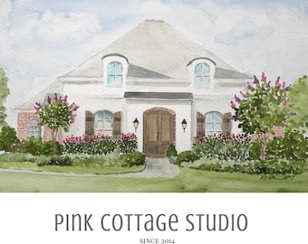 Painting from photo, House portrait, Watercolor painting of home, Realtor gift, Pink Cottage Studio, House sketch, House illustration