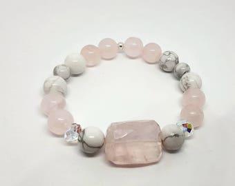 Handmade, Rose quartz and Howlite bracelet with swarowski
