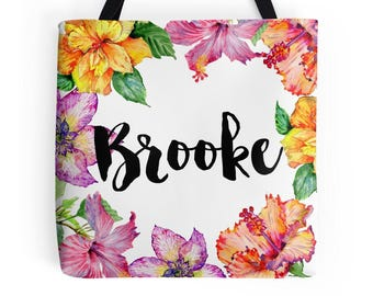 Personalized Tote With Name | Custom Name Bag | Personalized Gifts | Custom Name Totes | Personalized Floral Bag | Personalized Totes