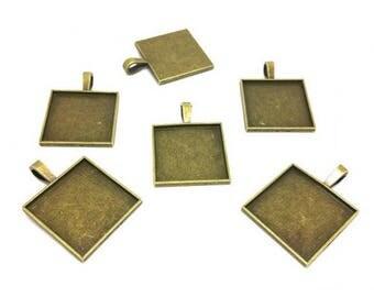 10 square 25mm Bronze cabochon
