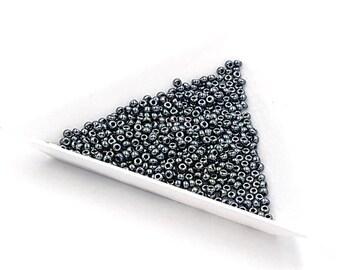 5 oz of black Miyuki seed beads 11/0 Light Gunmetal 0464
