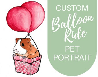CUSTOM Watercolor Painting - Guinea Pig Balloon Ride