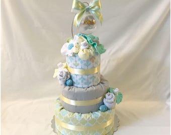 Unique Gender Neutral Diaper Cake - Personalized Gender Neutral Diaper Cake with Keepsake Baby Booties Ornament