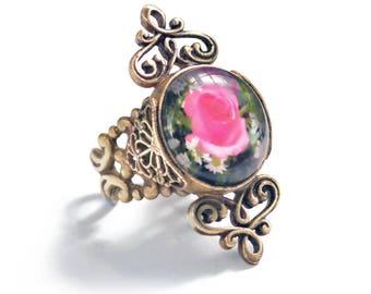 French Jet and Rose Glass Ring, Jet Black Ring, Silver and Black Ring, Flower Ring, Rose Ring, Rose Jewelry, Vintage Ring, Gold Ring R536