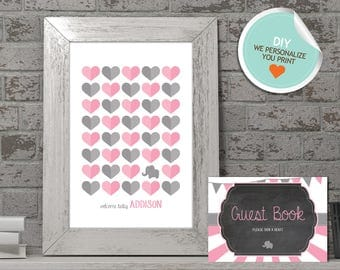 Elephant Baby Shower Guest Book, Elephant Guest Book, Pink, Gray, Flags, Stripes, Chalkboard (Hearts) | DIY