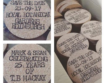SAVE THE DATE hand stamped cork beer mats
