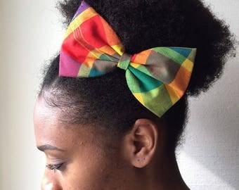 Bow fabric multicolored madras