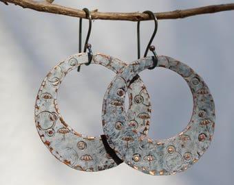 Hoop earrings, Copper hoops, Vintage patina earrings, Sterling silver ear wire, Patina jewelry, Hammered earrings, Rustic dangles,  Handmade