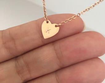 heart Initial necklace, Personalized Layering Necklace, initial heart necklace, cute necklace, unique necklace, bridesmaids gift,