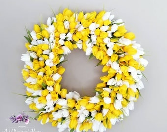 Yellow Tulip Wreath - Spring Wreath - Easter Wreath - Summer Wreath