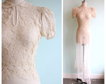 Vintage 1930's Ivory Spiderweb Lace and Tulle Gown | Size Extra Small