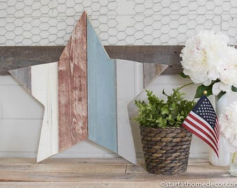 on SALE!!!  Red, White and Blue Reclaimed Wood Star