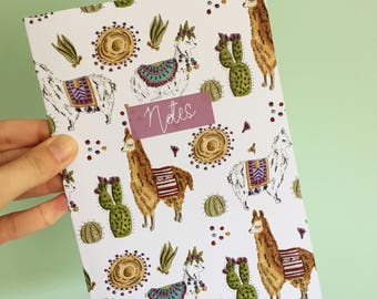 A5 Notebook - Cacti Llama Notebook - Stationery - patterned notebook - back to school - exercise book - cute notebook - floral