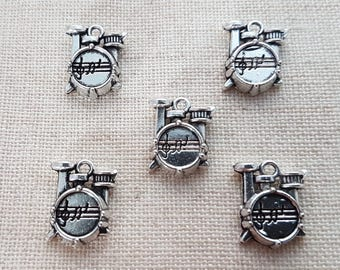 Drum Kit Charms x 5. Musical Instrument Charms.  Antique Silver Tone. UK Seller