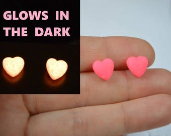 pink heart earrings polymer clay Jewelry pink earrings glow in the dark pink heart small studs tiny stud earrings jewelry gift heart jewelry