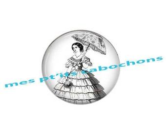 Pretty cabochon glass Ref - 25 mm lady with parasol