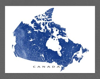 Canada Map, Canada Print, Canadian Art, Canada Poster, Wall Map Illustration