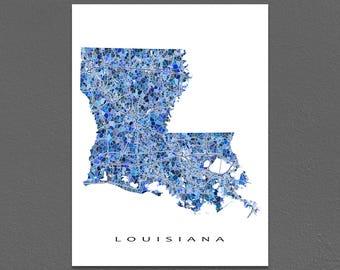 Louisiana Map Print, Louisiana State Art, LA Wall Artwork