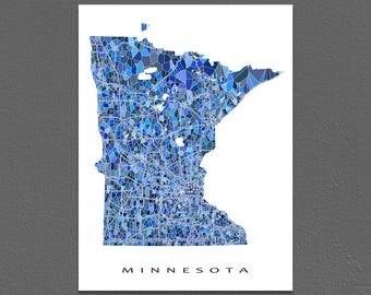 Minnesota Map Print, Minnesota State Art, MN Wall Decor