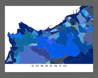 Sorrento Map Art Print, Sorrento, Italy City Maps