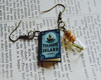 Treasure Island Book and map Earrings, Literary book dangle Earrings, treasure map in a bottle accessories