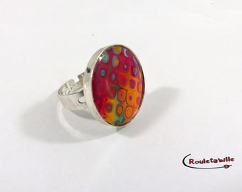 Adjustable ring, round, psychedelic, multicolor, red and orange tones (1)