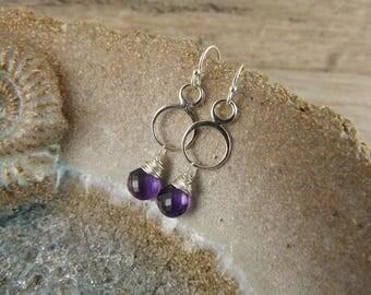 Amethyst earrings~ silver earrings~dangle earrings~gemstone earrings~purple earrings~gemstone earrings~boho purple gemstone earrings