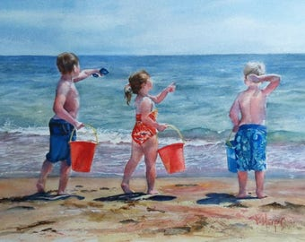 Custom watercolour portrait, Precious moments, beach scene