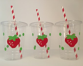 Strawberry party cups, Strawberry Birthday Party, Farmers Market Party