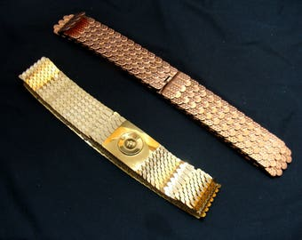 Vintage metal snake scale belt lot-copper gold silver fish scales -1980's stretch belts