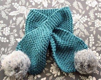 SALE! 25% OFF Teal Scarf w Stay Put Opening. Baby Scarf. Pom Pom Scarf. Teal Scarf. Hand Knit Scarf. Knit Baby Scarf. Pompom Scarf