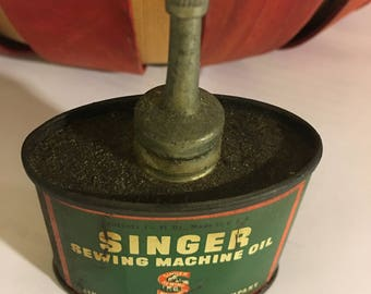 Singer Sewing Machine Oil Tin, Household Lubricant, Mid Century Collectible Tin