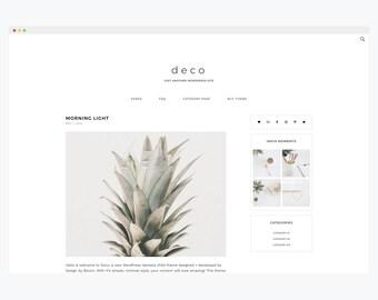 "WordPress Theme- Minimalist Blog Ecommerce Theme- Genesis Theme- WordPress Website- Fashion Blogger Theme- ""Deco"" Instant Download"