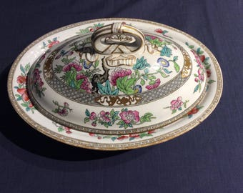 Antique Minton Tree of Life Covered Dish