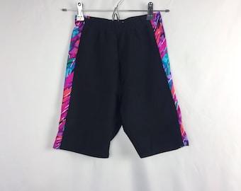 Vintage 80s Biker Shorts // Black + Colorful Printed Shorts // Exercise // Workout // Aerobics Nylon Spandex // Yoga Stretchy // Body Force