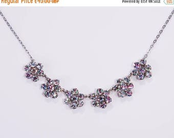 Go on, buy it now - Vintage C1950s Czech Rainbow Iris Glass Daisy Flowers Necklace