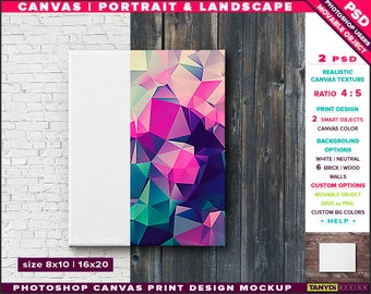 8x10 Canvas on Wall | Photoshop Print Mockup C810-W | Movable Unframed Portrait Landscape | Bricks Wood | Smart object Custom colors