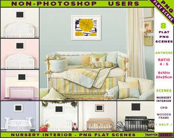 Nursery Interior Styled PNG Scenes 810-C2 | Non-Photoshop | 8x10 Wooden Frame on Nursery Wall | White Wood Crib | Landscape frame